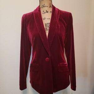 Red velvet blazer